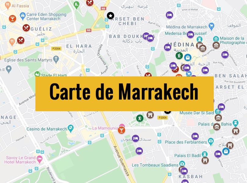 Carte de Marrakech au Maroc avec tous les lieux du guide.