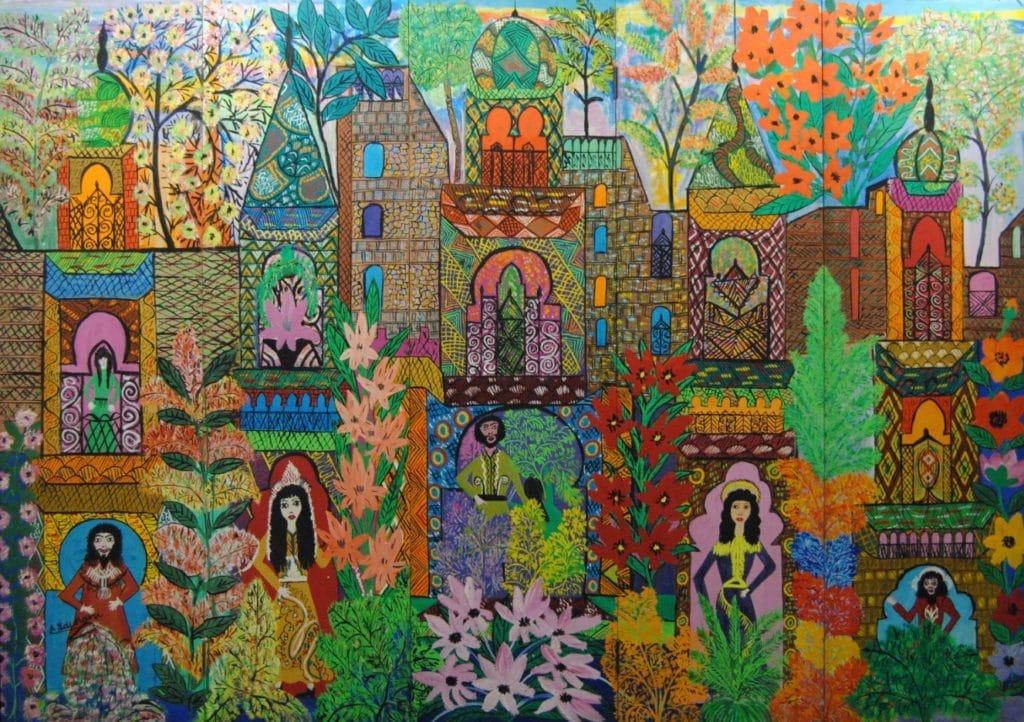 Oeuvre de Louardiri au Musée Macma dans le quartier de Guéliz à Marrakech.