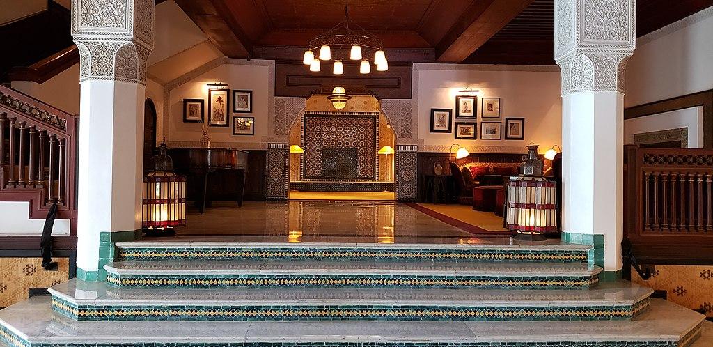 A l'intérieur de l'hôtel de luxe La Mamounia dans le quartier de l'Hivernage à Marrakech. Photo de Pi3.124