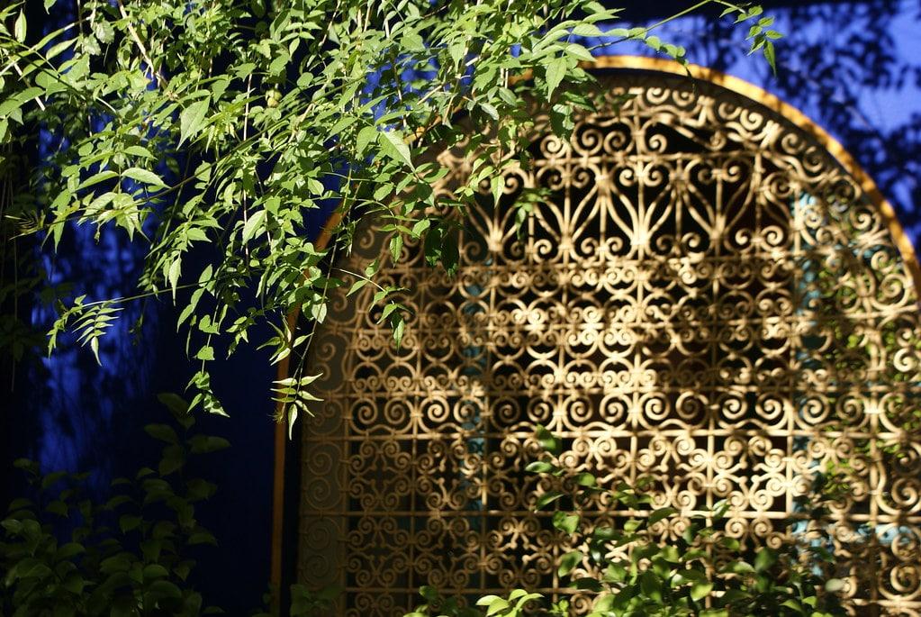 Le contraste magique entre le bleu Majorelle, le jaune et la végétation du jardin Majorelle à Marrakech.