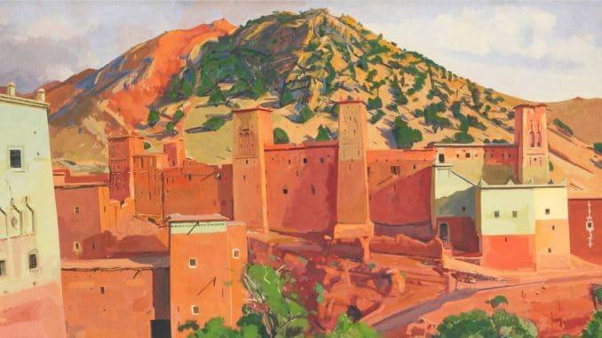 Forteresse dans l'Atlas au Maroc sous le pinceau du peintre Jacques Majorelle.