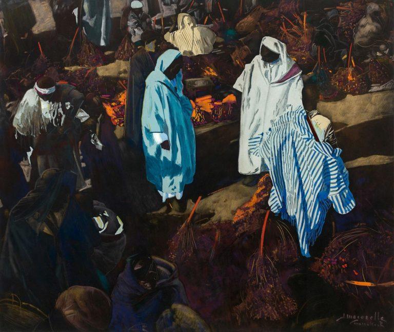 """""""Vendeurs de dattes au souk de Marrakech"""", peinture de Jacques Majorelle"""