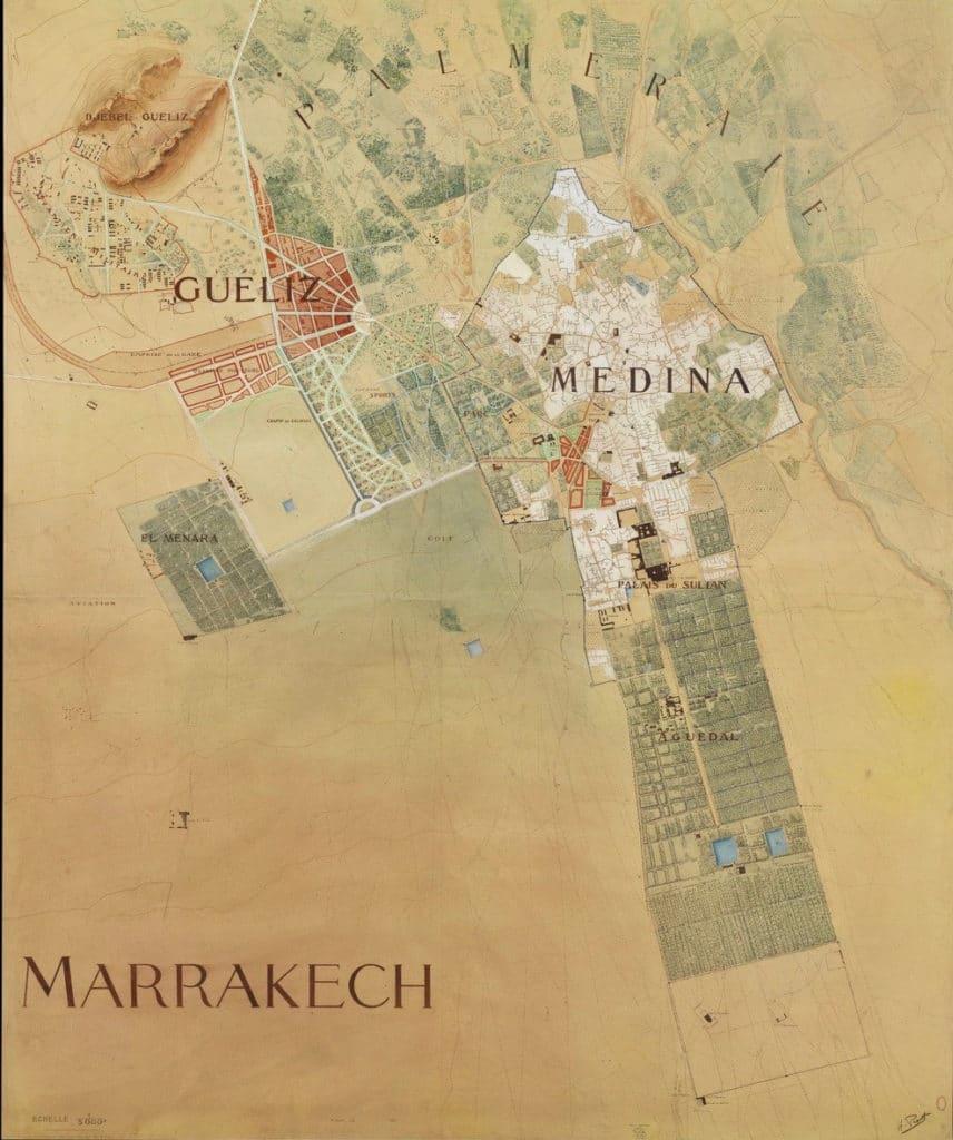 Plan d'aménagement de Marrakech par Henri Prost en 1920.