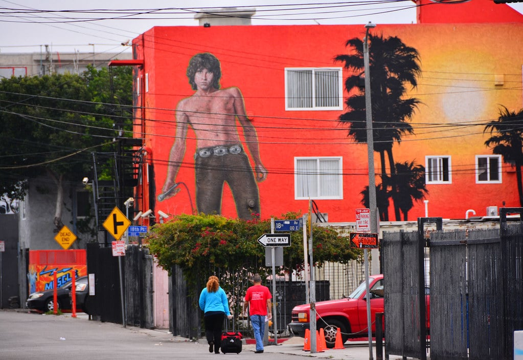 Mural de Jim Morrisson à Venice Beach, Los Angeles - Photo de M McBey