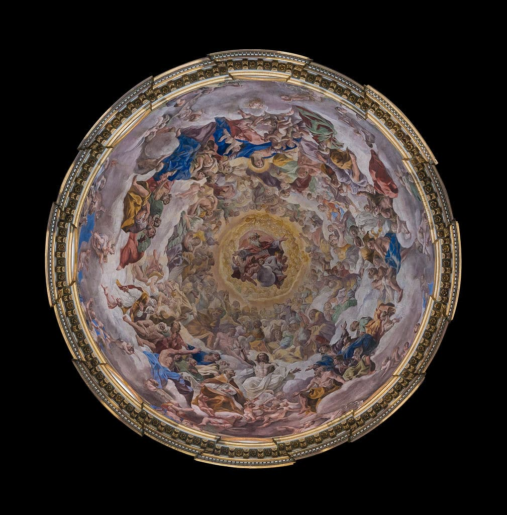 Fresque dans la coupole de la chapelle San Gennaro à Naples - Photo de Jebulon