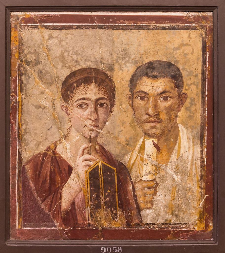 Portrait d'habitants de Pompéi dans le Musée Archéologique dans le centre historique de Naples.
