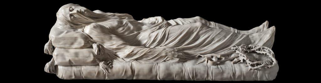 Monument de Naples : Sculpture de Jesus gisant dans la chapelle Sansevero.
