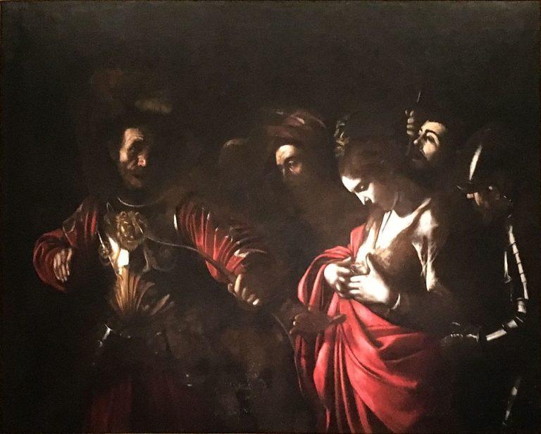"""""""Martyr de Sainte Ursule"""" par Le Caravage au Palazzo Zevallos en bordure des Quartiers Espagnols de Naples."""