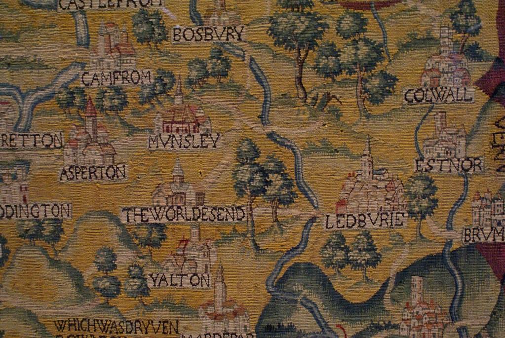 > Carte tissée des environs d'Oxford dans la Weston Library d'Oxford.