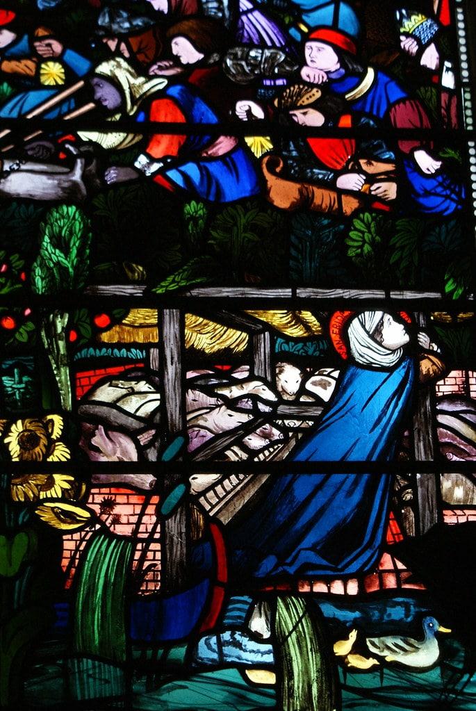 Frithuswith (également Frideswide ou Fréwisse) : Patronne d'Oxford dans la partie basse des vitraux entre les canards et les cochons. Dans la cathédrale de la Christ Church.