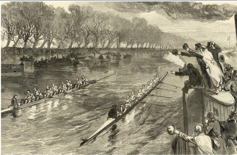 Illustration de la course d'aviron entre Oxford et Cambridge en 1877.