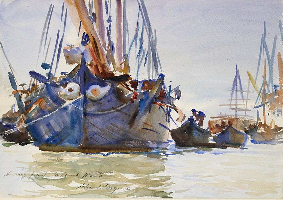 "> ""Italian Sailing Vessels at Anchor"" (1907) tableau de John Singer Sargentau Ashmolean Museum d'Oxford."