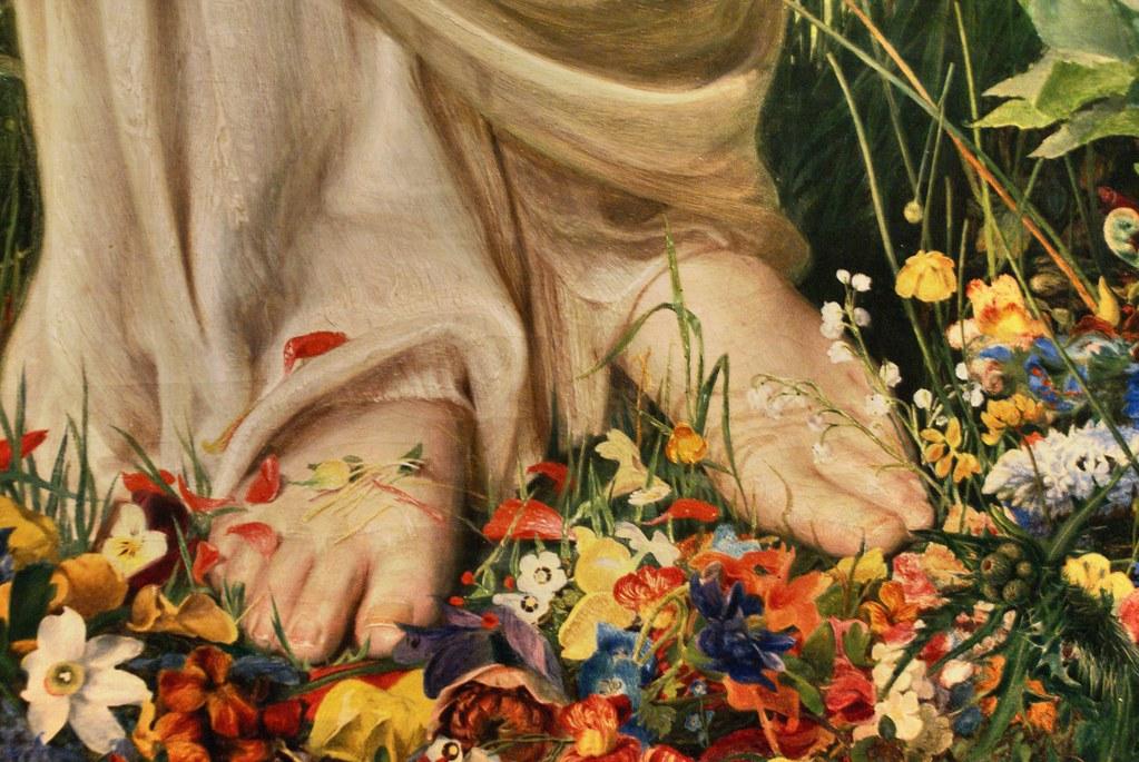 """Tableau de Frederik Sandys """"Gentle spring"""" (1865) représentant l'arrivée du printemps au musée Ashmolean Museum d'Oxford."""