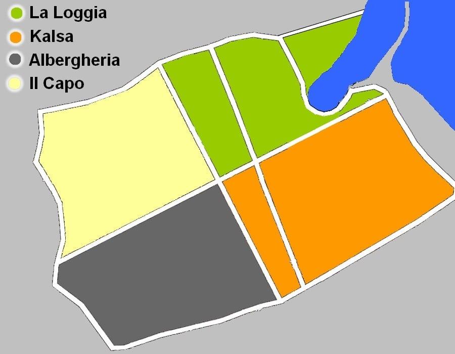 Carte du quartier de la Vieille Ville de Palerme.