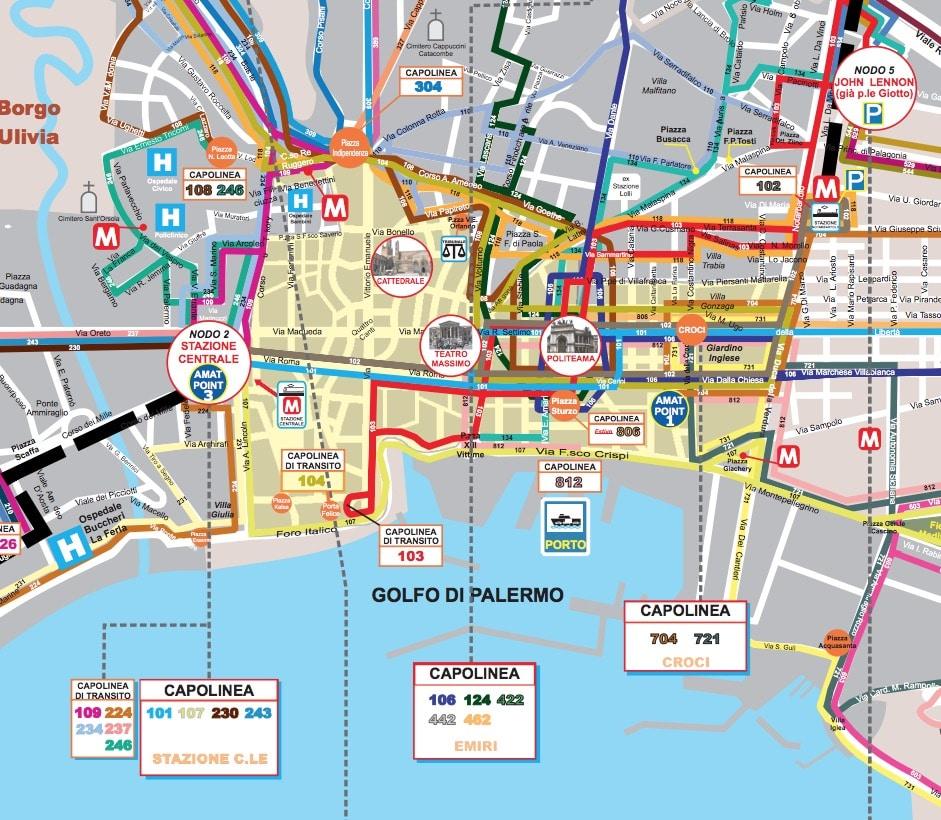 Carte des transports en commun à Palerme.