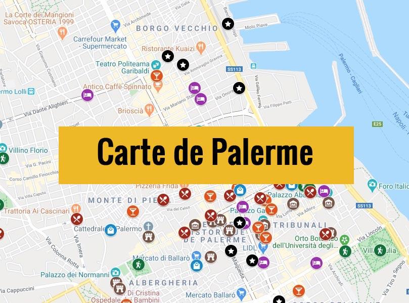 Carte de Palerme (Italie) avec tous les lieux du guide touristique.