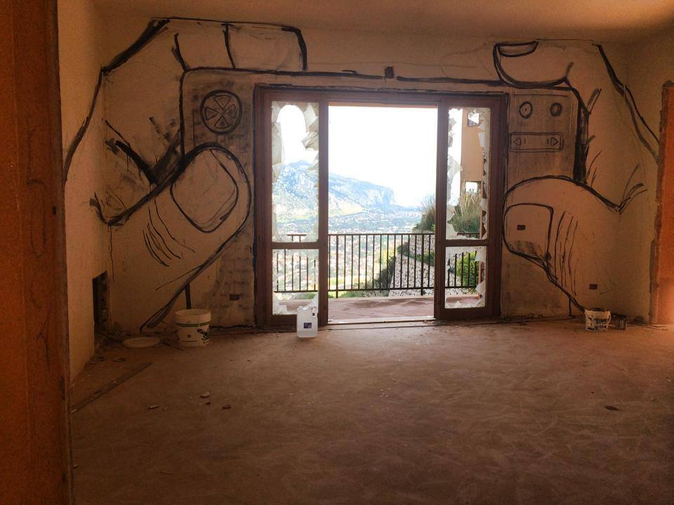 Street art au Pizzo Stella art village dans le parc de Capo Gallo près de Palerme.
