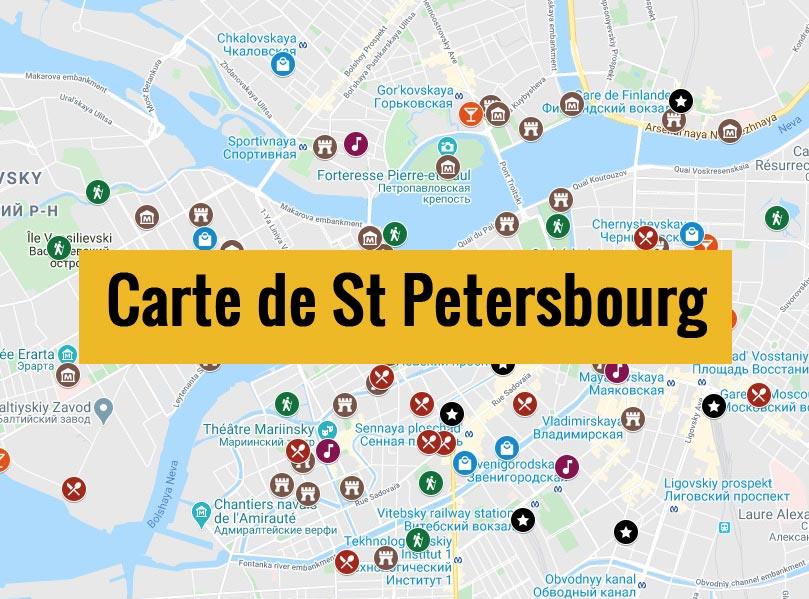 Carte de St Petersbourg avec tous les lieux du guide