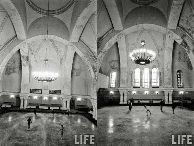 Eglise de la Dormition de la Sainte Mère de Dieu à Saint Petersbourg transformé en patinoire - Photo de mikhailtula.livejournal.com