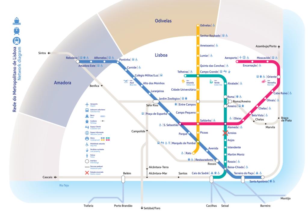 Plan du metro à Lisbonne