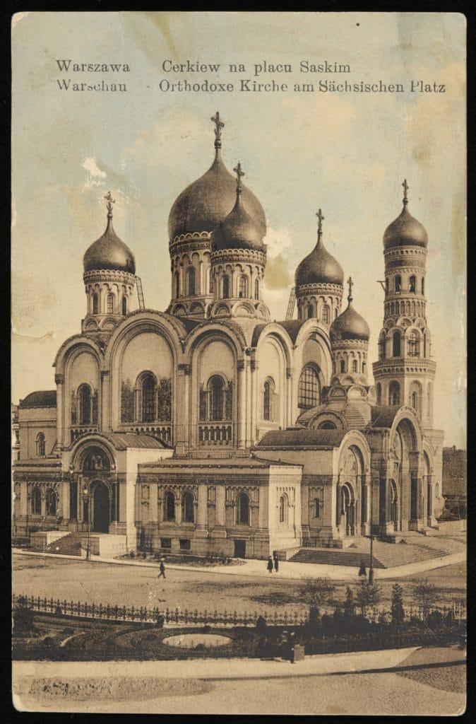Cathédrale orthodoxe sur la place de Saxe à Varsovie vers 1900.