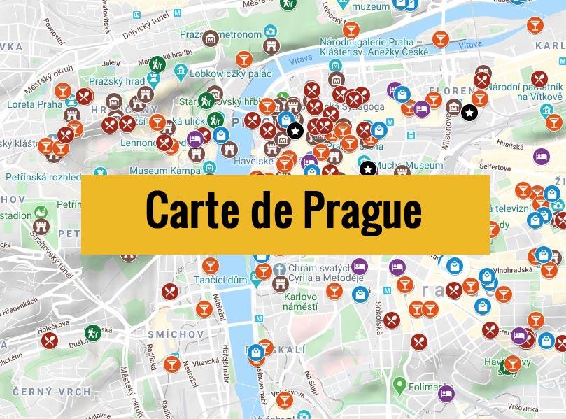 Carte de Prague en Tchéquie avec tous les lieux du guide