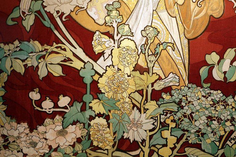 Détails d'une oeuvre art nouveau dans le Musée d'art décoratifs dans la vieille ville de Prague.