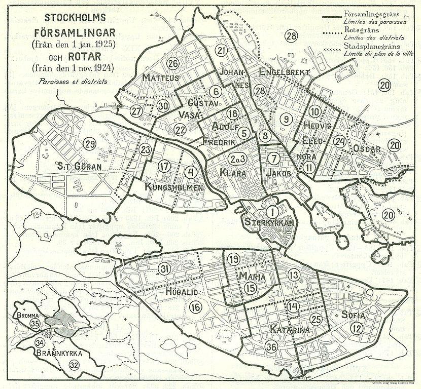 Quartier de Stockholm : Ici découpage paroissiale sur une ancienne carte de 1925.