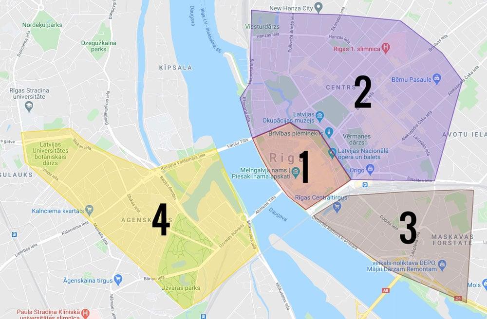 Carte des quartiers de Riga : 1. Vieille Ville reconstruite 2. Centrs, le centre Art nouveau 3. Maskavas Forstate 4. Pārdaugava