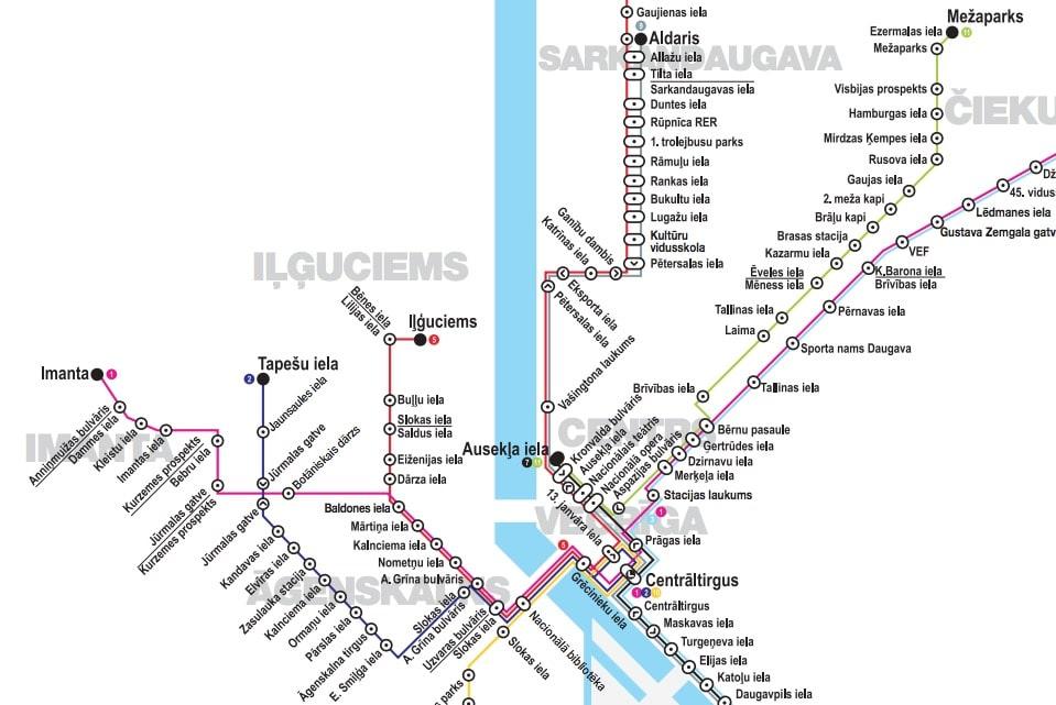 Carte du réseau de tram à Riga : Partie centrale.