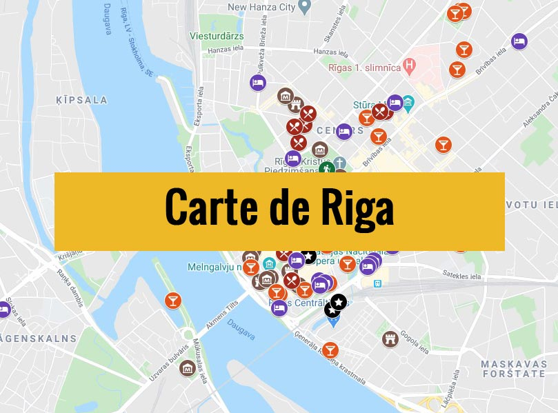 Carte de Riga en Lettonie avec tous les lieux du guide.