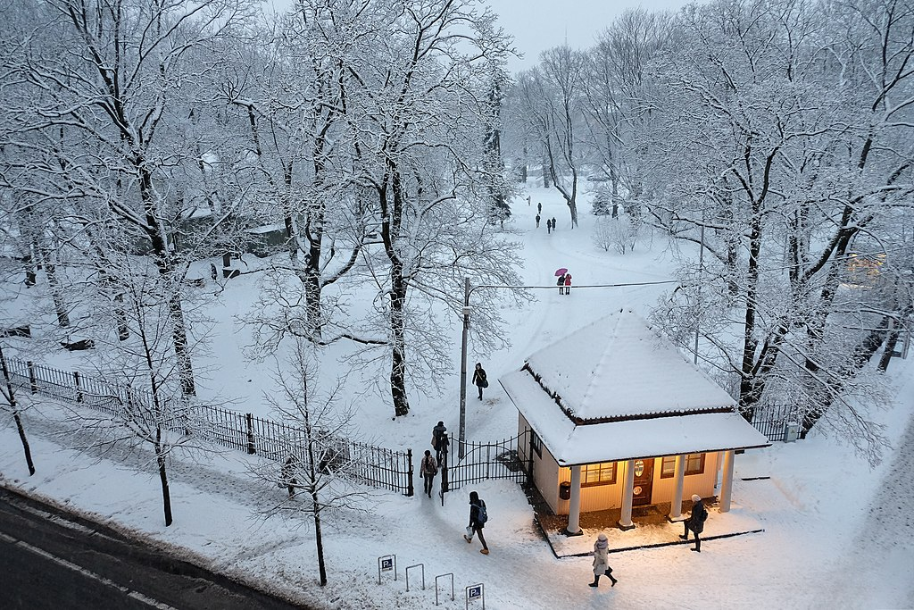 Dans le jardin de Vērmanes sous la neige dans le quartier de Centrs à Riga - Photo de Mārtiņš Bruņenieks