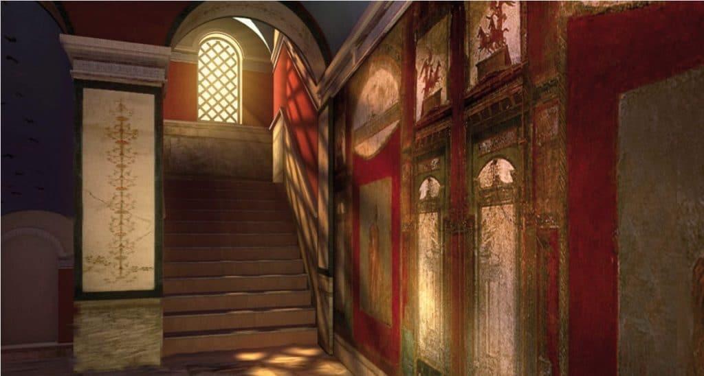 Reconstitution animée des villas romaines dans le Palazzo Valentini à Rome.
