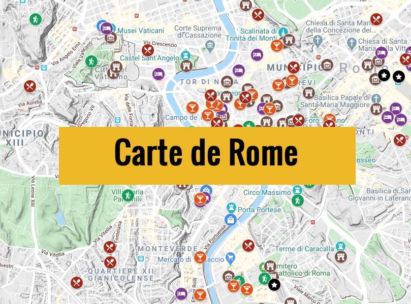 Carte de Rome avec tous les lieux du guide.