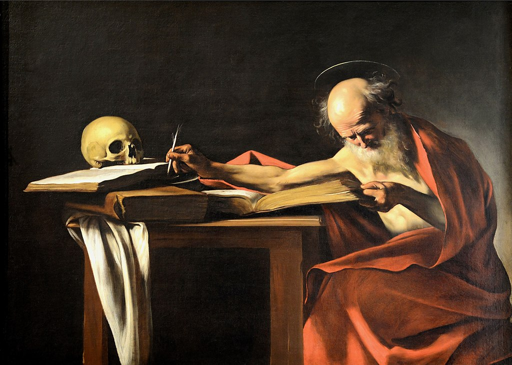 """""""Saint Jérôme"""", tableau de Caravage dans la Galerie Borghese à Rome."""