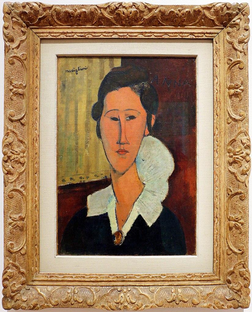 """""""Portrait d'Hanka Zborowska"""" (1917) par Modigliani au GNAM, musée d'art moderne à Rome."""