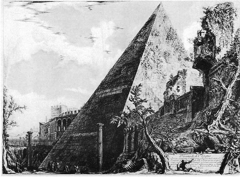 Pyramide de Cestius dans le quartier de Rome. Illustration du 18e siècle de Piranesi.