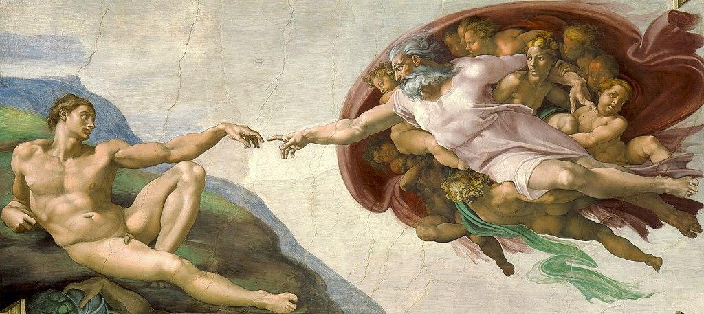 Fresque de la création d'Adam par Michelange dans la chapelle Sixtine du Vatican à Rome.