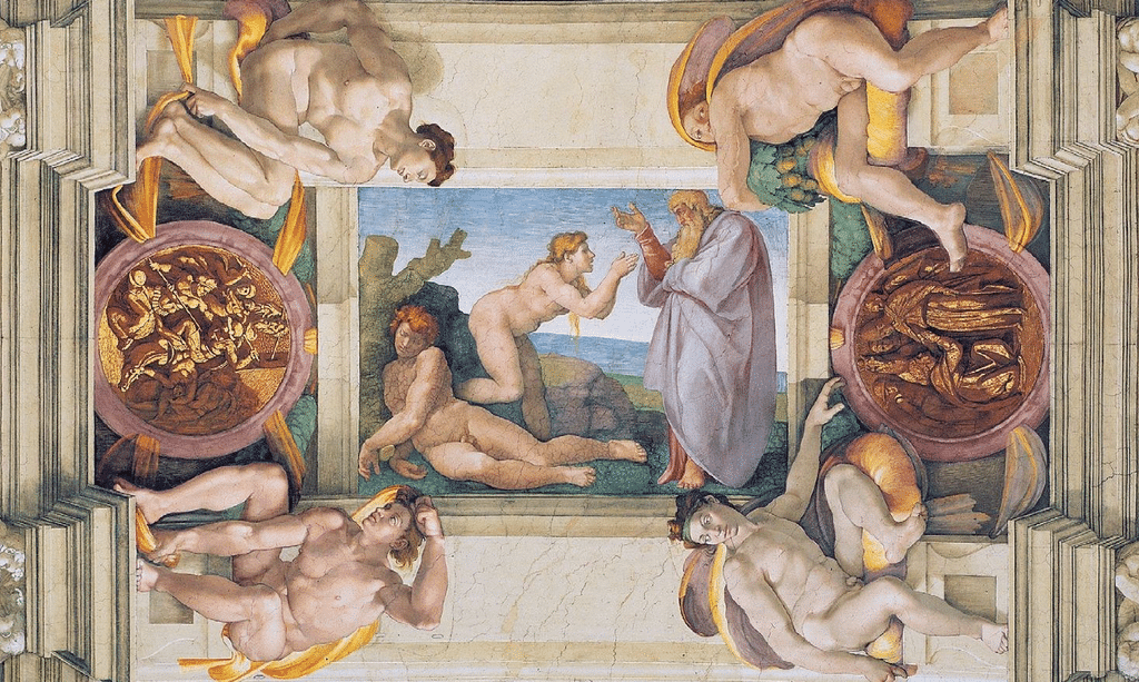 Fresque de la création d'Eve par Michelange dans la chapelle Sixtine du Vatican à Rome.