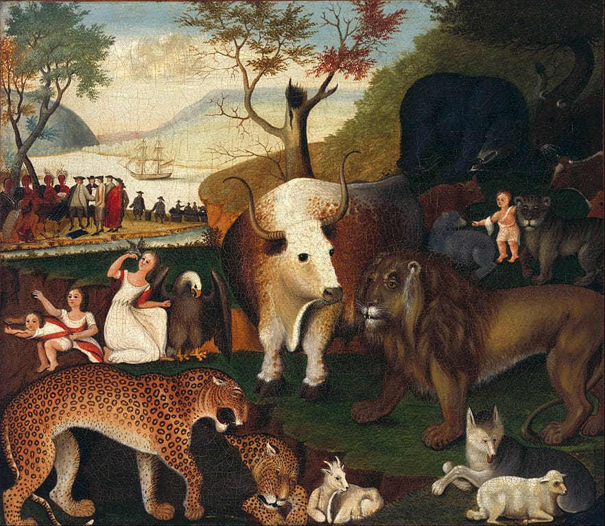 """The Peaceable Kingdom""d'Edward Hicks (1840) au Young Museum de San Francisco."