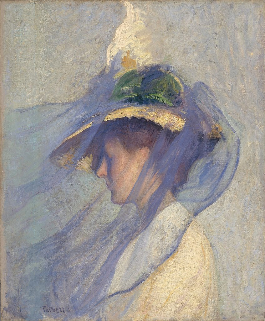 """""""The Blue Veil"""" d'Edmund Tarbell (1898) au Young Museum de San Francisco."""
