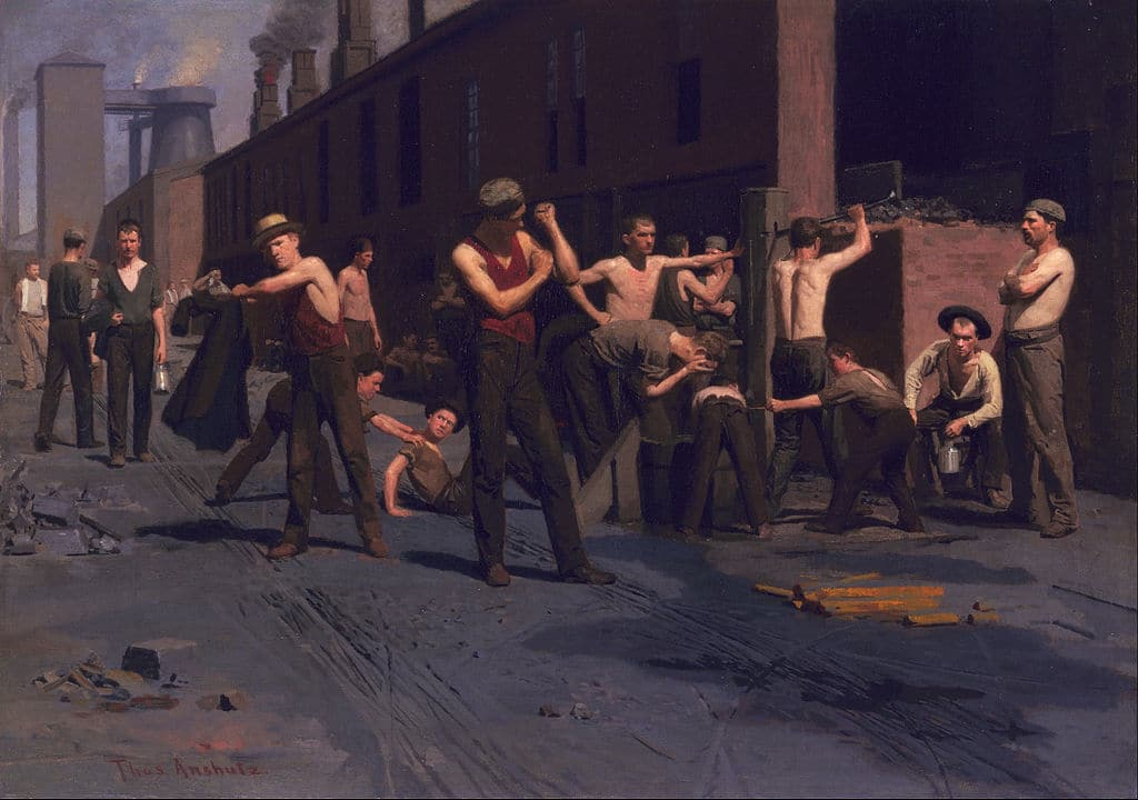 """The Ironworkers' Noontime"" de Thomas Pollock Anshutz (1880) au Young Museum de San Francisco."