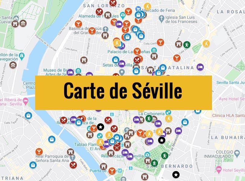 Carte de Séville en Andalousie avec tous les lieux du guide