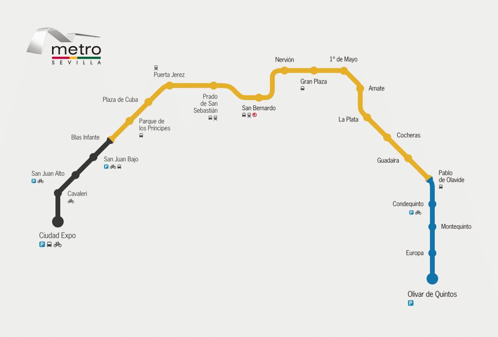 Carte du métro de Séville - Image Andreuvv