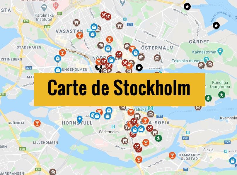 Carte de Stockholm en Suède avec tous les lieux du guide