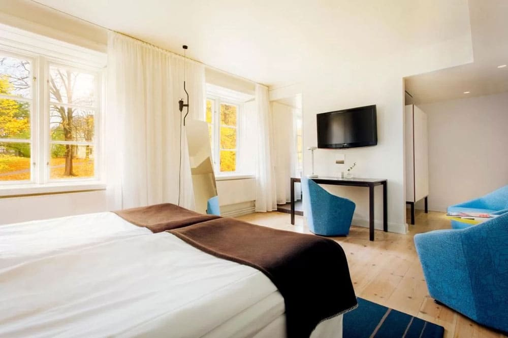 Dans l'hotel de luxe Hotel Skeppsholmen à Stockholm.