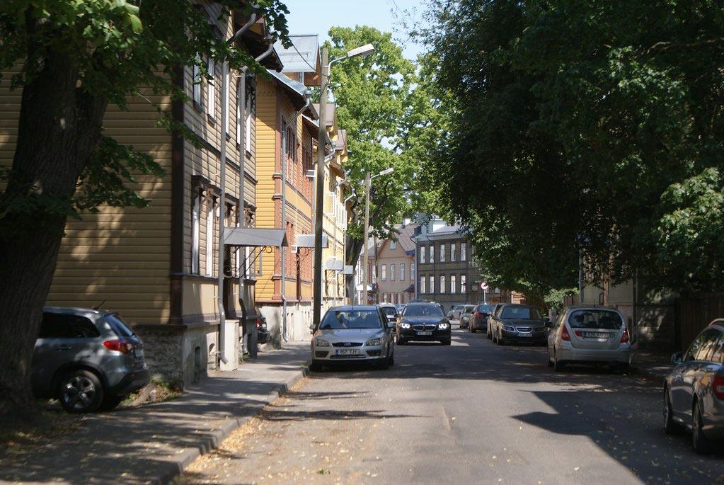 Maisons en bois dans le quartier de Kalamaja à Tallinn.