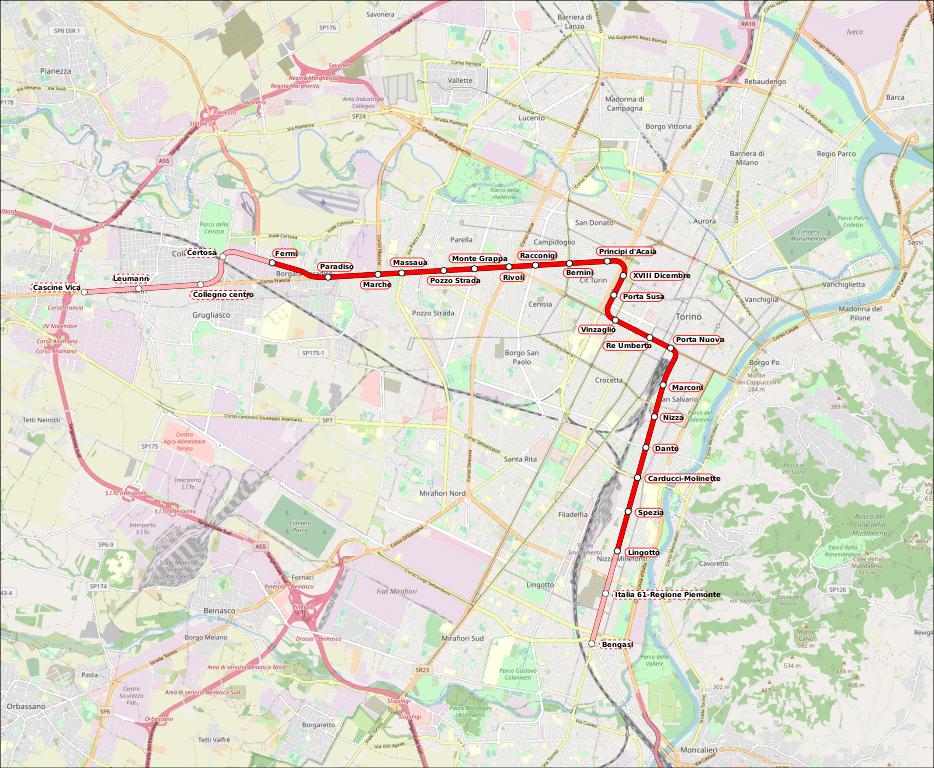 Carte du métro de Turin.