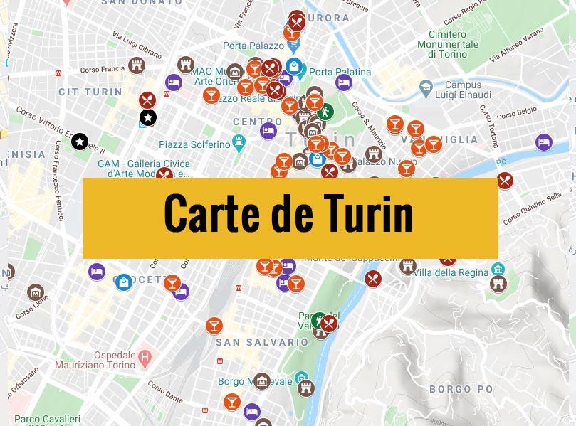 Carte de Turin en Italie avec tous les lieux du guide