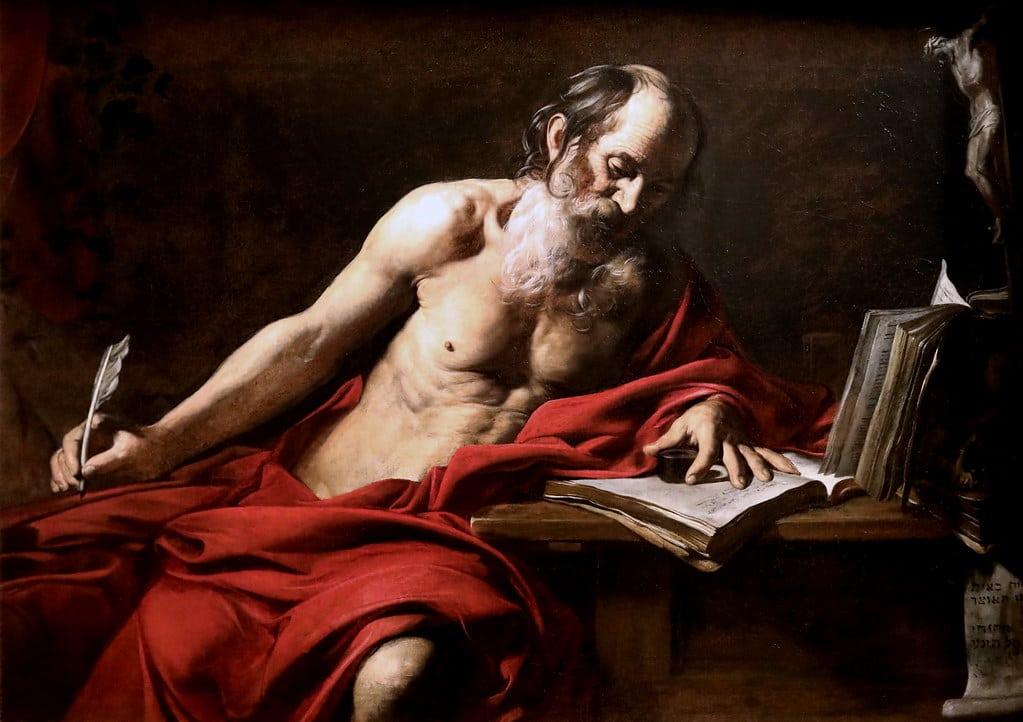 « Saint Jérôme » de Valentin de Boulogne (1620), représentant du caravagisme français à la Galerie Sabauda à Turin. Photo de Jean Louis Mazieres